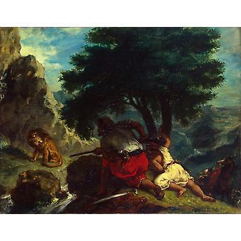 Lion Hunt in Morocco, Eugene Delacroix, 50x40cm