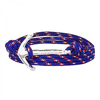 Holler Mosley  Silver Polished Anchor / Blue, Red and White Paracord Bracelet HLB-02SRP-P16