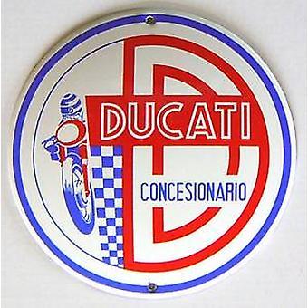 Ducati Concesionario glasagtige emalje stål badge (jj 13 runde)