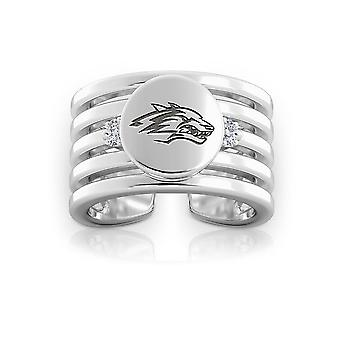 University Of New Mexico Engraved Sterling Silver Diamond Multiband Cuff Ring