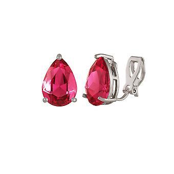 Éternelle Collection séduction Teardrop Rose Rose Crystal Silver Tone Stud Clip boucles d'oreilles