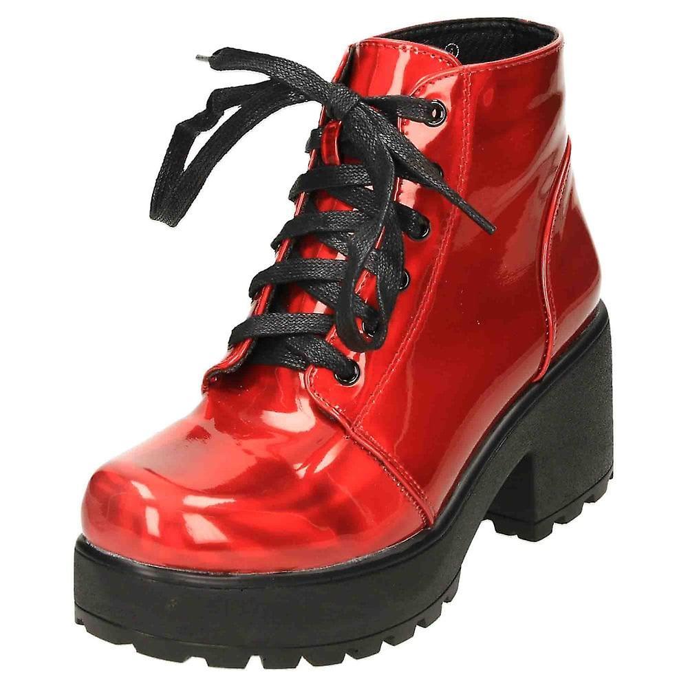 Koi Footwear Chunky Platform Metallic Patent Ankle Boots