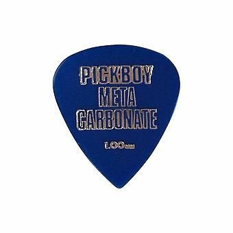 6 Pickboy Guitar Picks/Plectrums - Metacarb Blue - Heavy 1.00mm