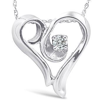 14 k Weißgold Fancy Herz Form Solitär Diamant Anhänger Halskette
