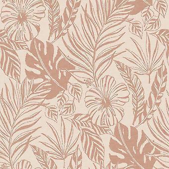 Rasch Jungle Leaf Wallpaper Blush Rosa Oro Oro Botánico Botánico Tropical