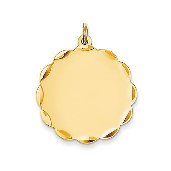 Fascino del disco 14k giallo oro solido sfaccettato lucidato Engravable Gauge.018 Engraveable smerlato