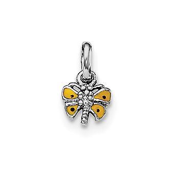 925 Sterling Argento Rh placcato per ragazzi o ragazze giallo smaltato farfalla ali ciondolo collana