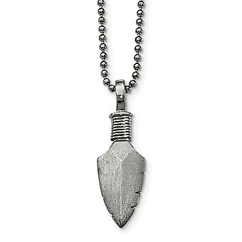 Stainless Steel Fancy Lobster Closure Polished Brushed Arrow Head Necklace 22 Inch Jewelry Gifts for Women