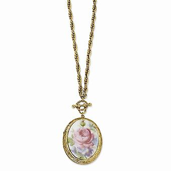 Tom dourado Decorative Toggle Fancy Lobster Closure Pink Flower Decal Locket 30 Inch Colar Joias Para Mulheres