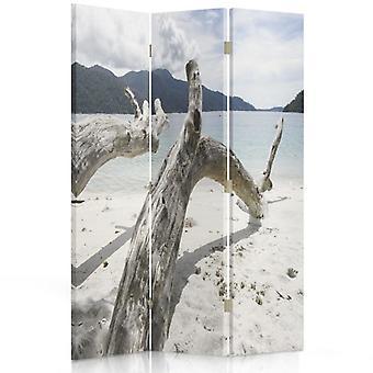 Raumteiler, 3 Paneele, Doppelseitig, 360 ° drehbar, Leinwand, Zweige Baum an einem tropischen Strand