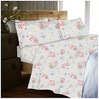 Traditional Disty Flower Flannelette Sheet Set with Fitted Flat Sheet Pillowcase