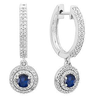 Dazzlingrock Collection 10K 4 MM Each Round Blue Sapphire & White Diamond Women's Halo Dangling Drop Earrings, White Gold