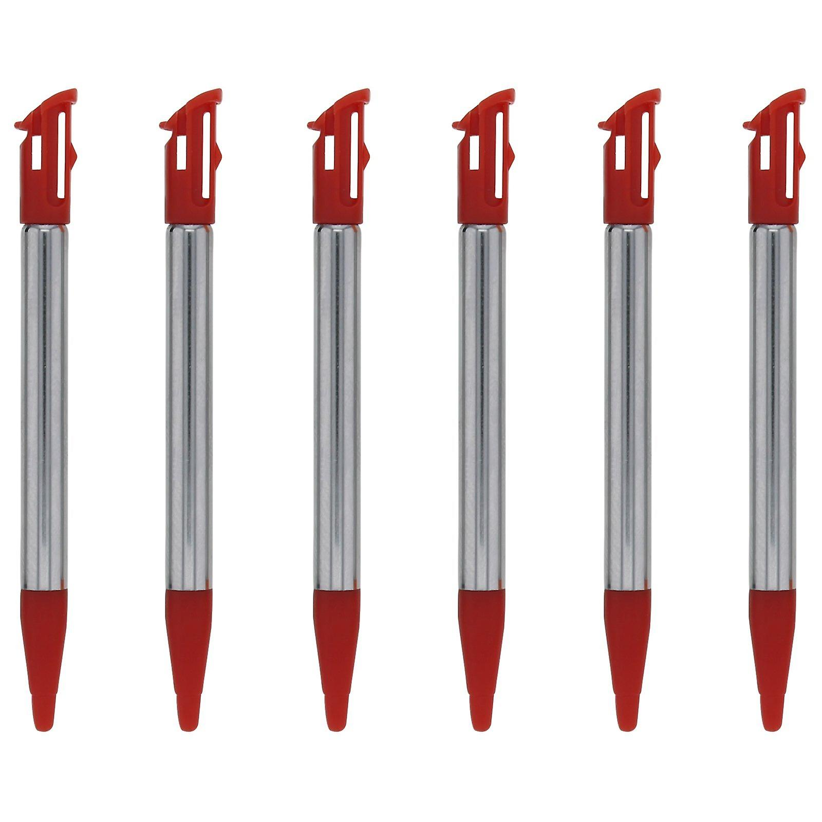 Replacement slot in metal extendable stylus pens for nintendo 2ds xl - 6 pack red