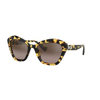 Miu Miu SMU05U 7S0QZ9 Light Havana/Brown Gradient Mirror Silver Sunglasses
