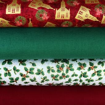 Christmas Fabric Fat Quarter Bundle 100% COTTON 4 Piece FQ Traditional Red, Green and Cream Patterns. For Christmas Craft Projects like Stockings, Advent Calendars and Gifts