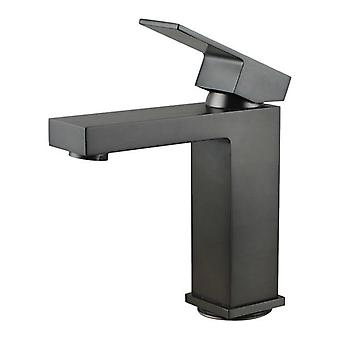 Square Solid Brass Gunmetal Grey Basin Mixer Tap Vanity Tap
