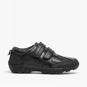 Roamers Wilfred Boys Black Leather Touch Fasten Shoes