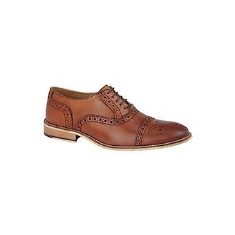 Roamers Trevor Mens Leather Capped Brogue Shoes Tan