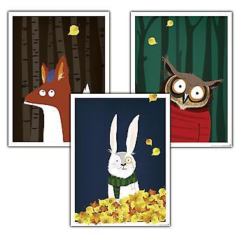 Kinderzimmer Poster Wald 3er-Set, 30 x 40 cm Eule, Fuchs und Hase Kleinformat