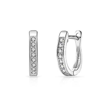 Silver channel set hoop earrings created with swarovski® crystals
