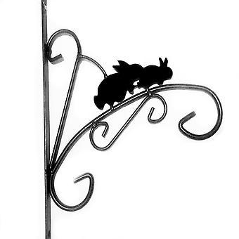 "Kingfisher HBBANI 8.5"" (21.5cm) Novelty Rabbit Design Black Metal Hanging Planter Basket Wall Bracket"
