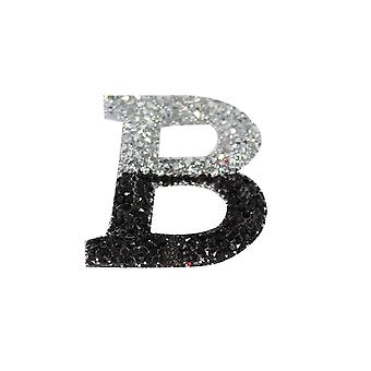 Black and Silver Double Glitter Alphabet Sticker - B
