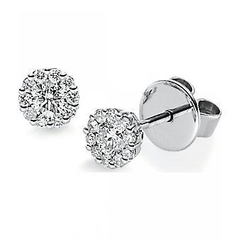 Diamond stud earrings - 14K 585/- White gold - 0.46 ct.