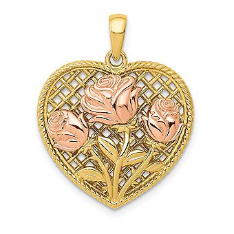 20.1mm 14k Yellow and Rose Polished Roses Basketweave Love Heart Pendant Necklace Jewelry Gifts for Women