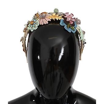 Dolce & Gabbana Multicolor Floral Crystal Gold Headband