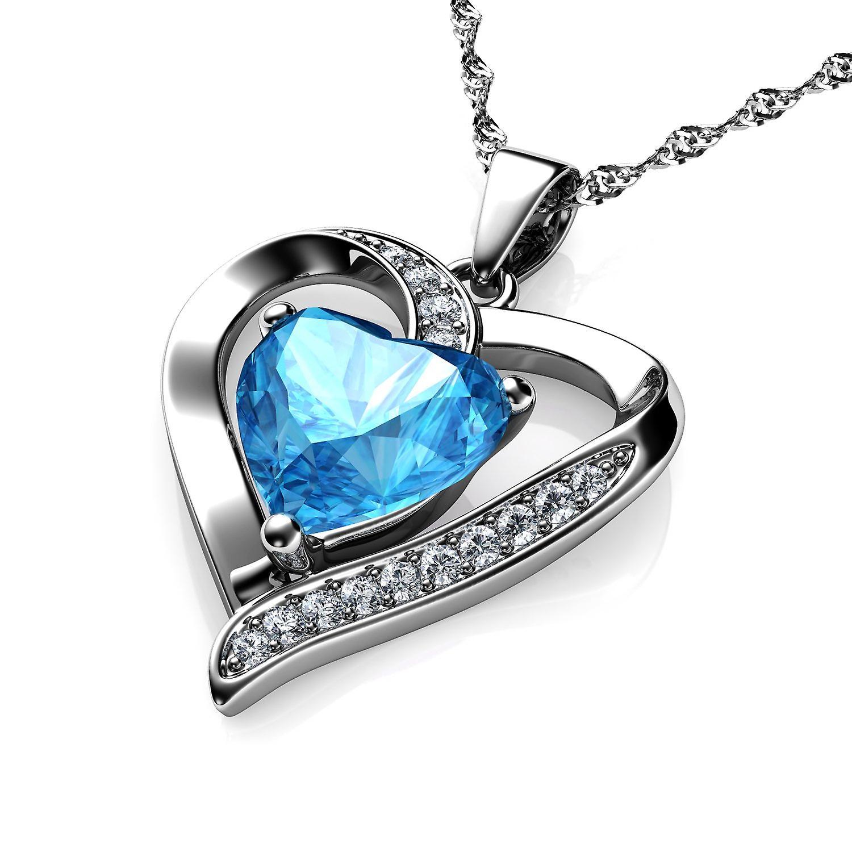 Dephini silver heart pendant - 925 sterling silver aqua cz crystal