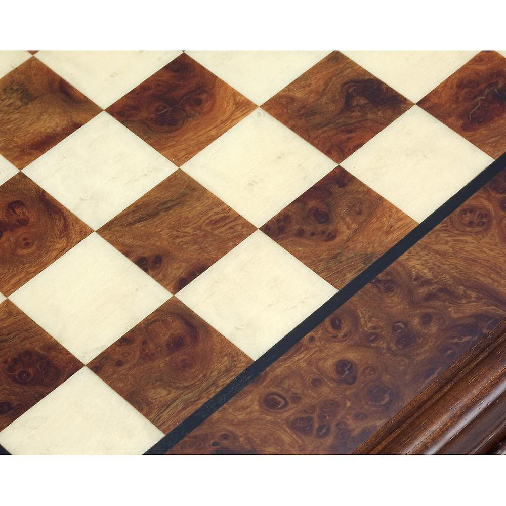 20.6 Inch Briarwood and Elm Chess Cabinet with Drawer