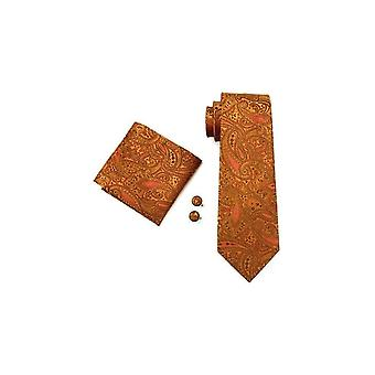 JSS Brown Paisley Silk Neck Wedding Tie, Pocket Square & Cufflink Set