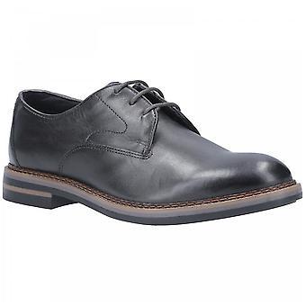Base London Grey Leather Wayne Burnished Lace Up Shoes
