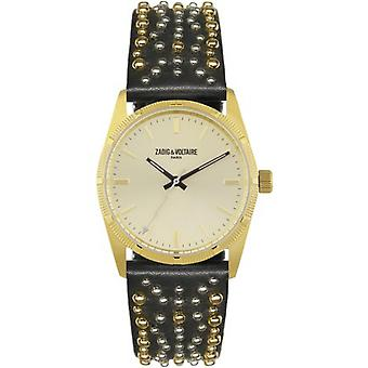Zadig & Voltaire ZVF403 watch - Watch Bracelet leather black Clout Bo tier Dor woman