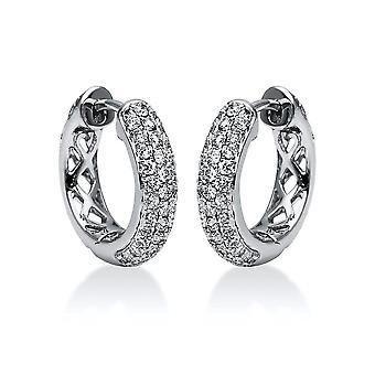 Diamond creoles hoop earrings - 18K 750/- white gold - 0.9 ct.