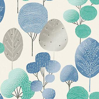 Scandi Forest Wallpaper Blue Crown M1526
