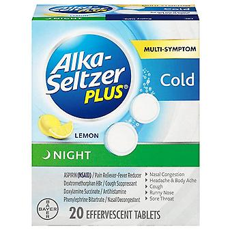 Alka-seltzer plus night cold, effervescent tablets, lemon, 20 ea
