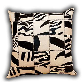 Tapijten-lederen Patchwork Zebra kussen