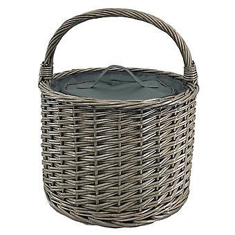 Round Grey Chiller Wicker Picnic Basket