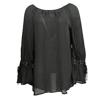 Laurie Felt Women's Top Woven Blouse w/ Bell Tie- Sleeves Black A295696