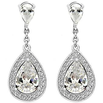KJ Beckett Teardrop Cubic Zirconia Earrings - Silver