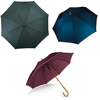 Kimood Unisex Automatic Open Wooden Handle Walking Umbrella