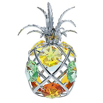 Crystocraft Pineapple Crystal Ornament With Swarovski Elements Gift Boxed Yellow Green Crystals Silver Chrome Plated Fruit Perfect Keepsake Collectors Gift Figurine