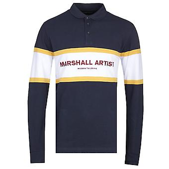 Marshall Artist Crown Heights Long Sleeve Navy Polo Shirt