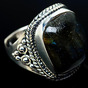 Labradorite Ring Size 7.25 (925 Sterling Silver)  - Handmade Boho Vintage Jewelry RING11445