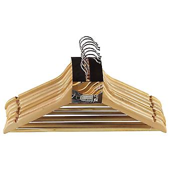 Stanford Home 8 Pack Clothing Hangers Wooden Construction Metal Hook