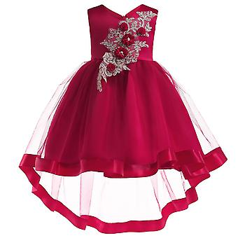 Girls Flower Embroidery Birthday Wedding Party Princess Dress
