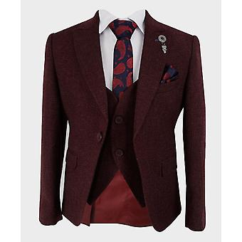 Boys Tailored fit Tweed Look Textured Burgundy Fashion Suit