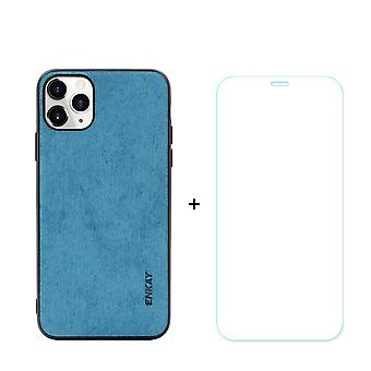 Voor iPhone 11 Pro Max Case Fabric Texture Blue & Tempered Glass Screen Protector
