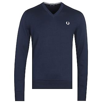 Fred Perry V-Neck Navy Sweater